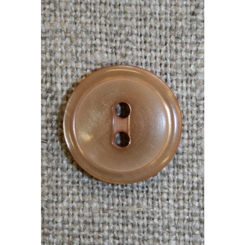 Lysebrun 2-huls knap, 15 mm.