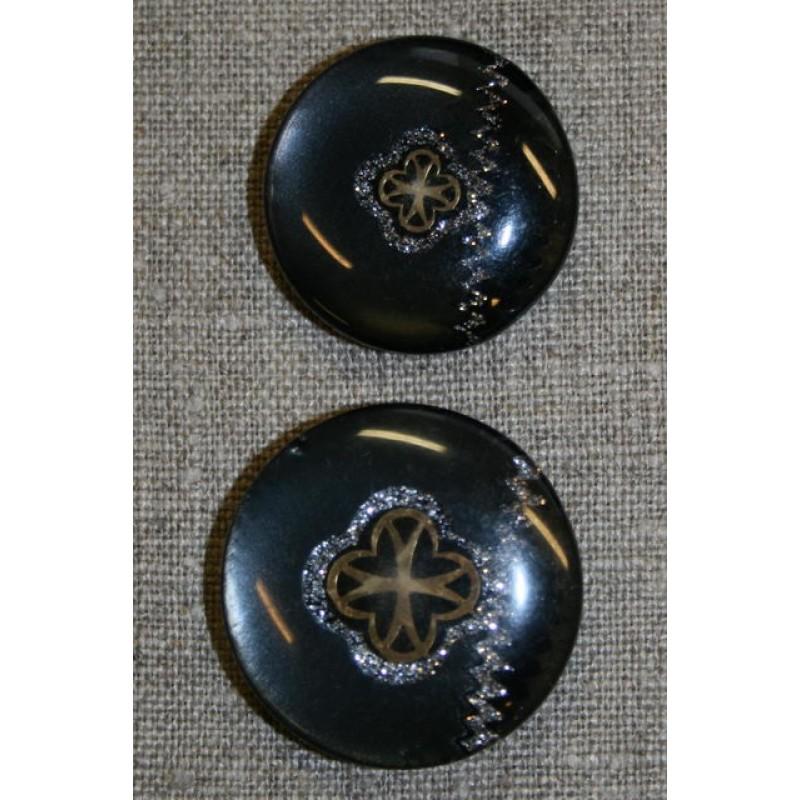 Sort knap m/guld & sølv mønster, 35 mm.