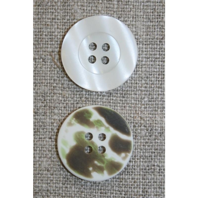 4-huls knap knækket hvid/camuflage, 20 mm.-31