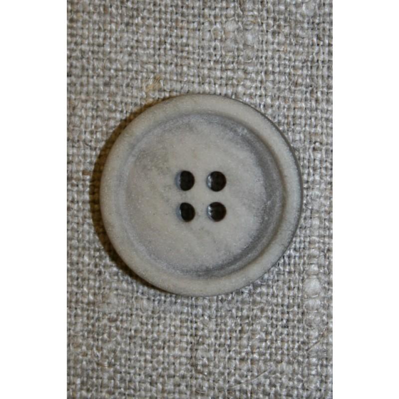 Sand meleret 4-huls knap, 17 mm.