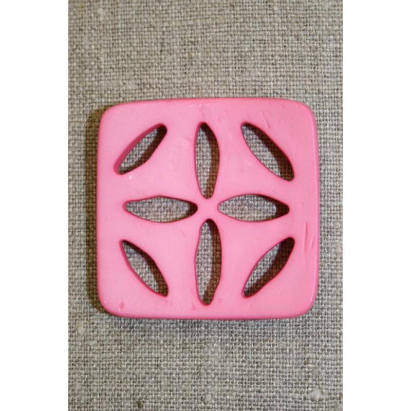 Stor firkantet knap m/huller, lyserød