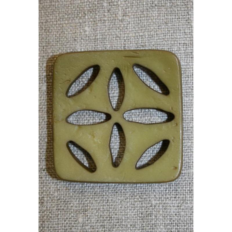 Stor firkantet knap m/huller, army-31