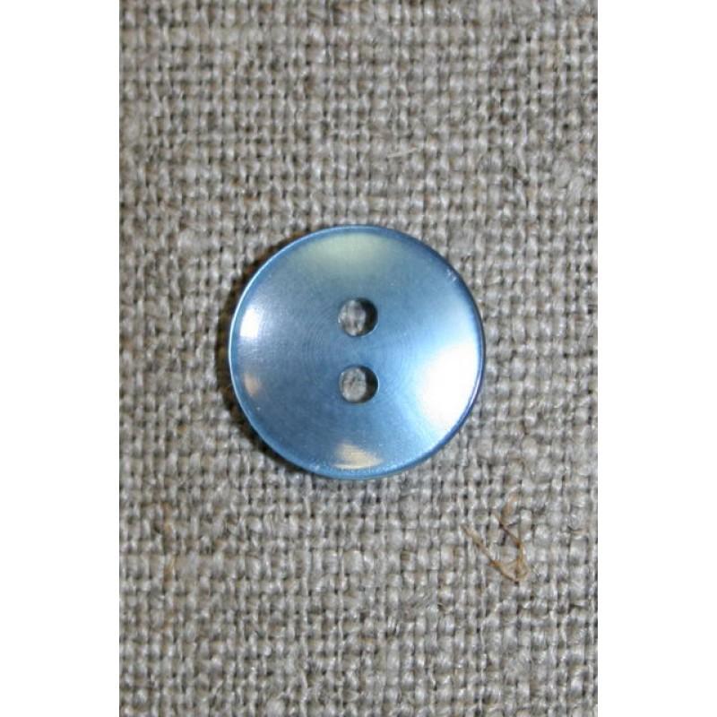 Lyseblå blank 2-huls knap, 13 mm.-31