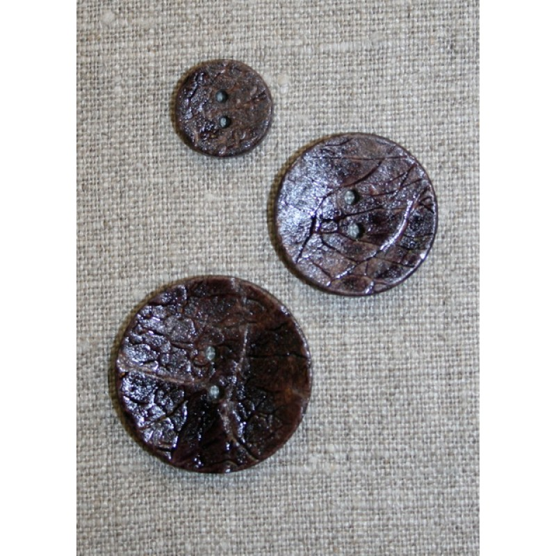 Knap Kokosnød malet, lilla/aubergine 30 mm.-35