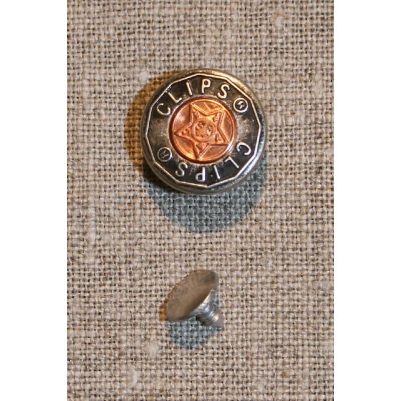 5 stk Patent knap koksgrå/kobber