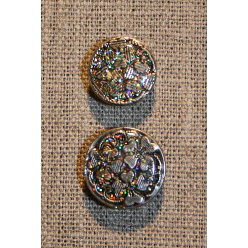 Patent-knapper m/glimmer, sølv 17 mm.