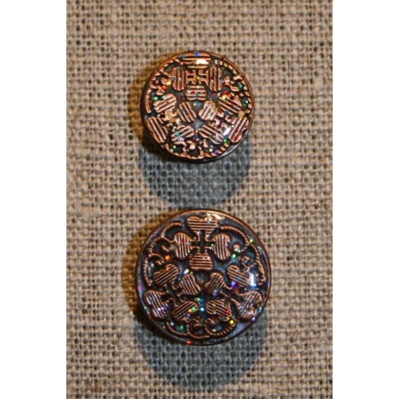 Patent-knapper m/glimmer, kobber 17 mm.-31
