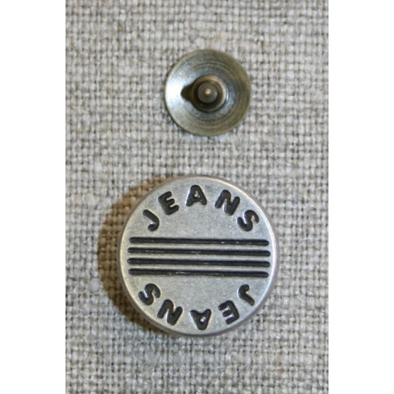 """Patent knap gl.sølv """"jeans""""-31"""