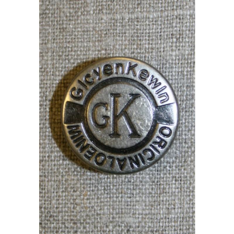 Patent knap 25 mm. gl.sølv-33