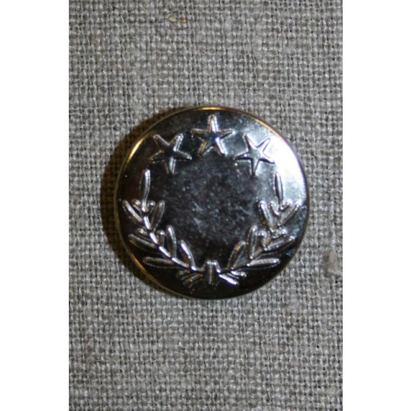 Patent knap 25 mm. m/stjerner, sølv-31