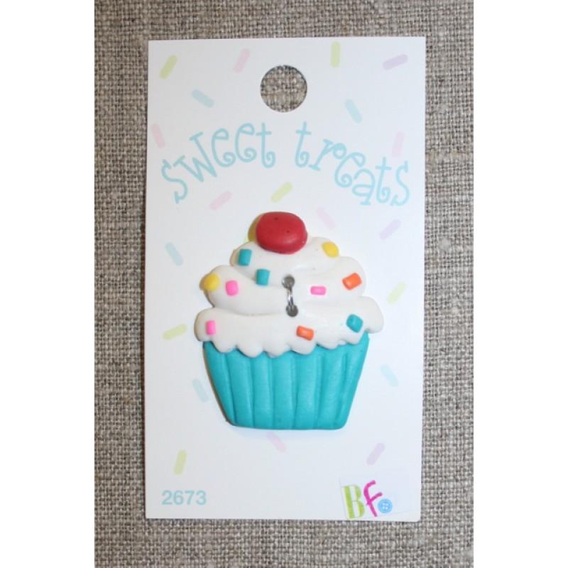 Knap m/Cup Cake, hvid/turkis 1 stk.-33
