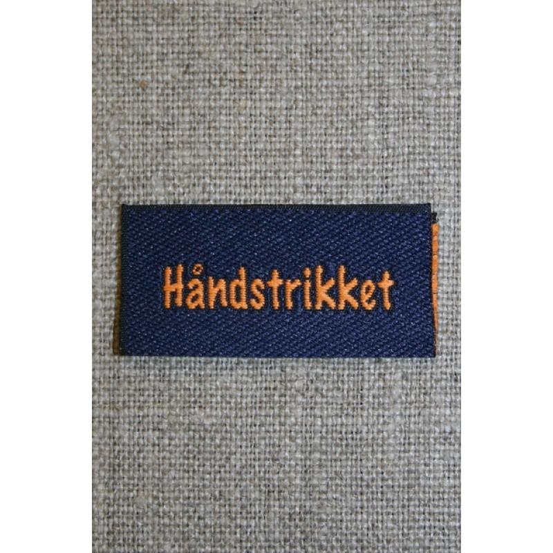 """Blå/orange mærke """"Håndstrikket""""-35"""