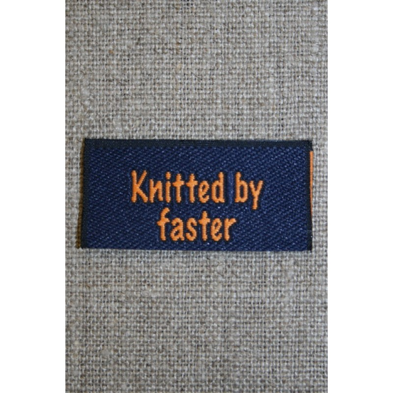 "Blå/orange mærke ""Knitted by faster""-35"