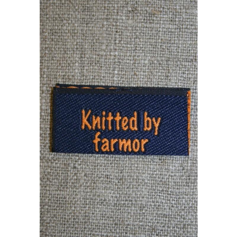 "Blå/orange mærke ""Knitted by farmor""-35"