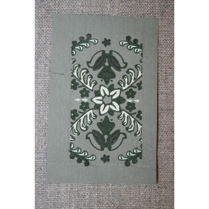 Motiv m/blomster-mønster Grå-grøn