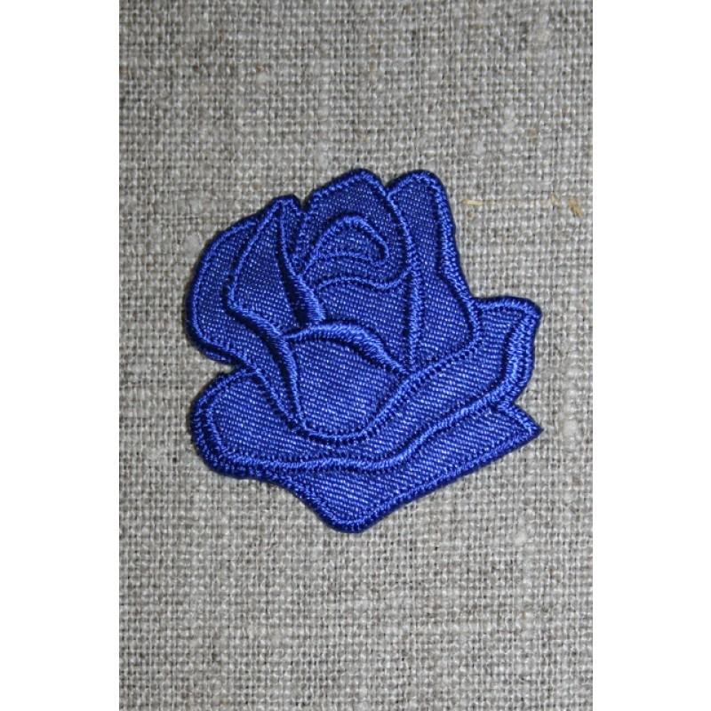 Motiv m/rose, koboltblå
