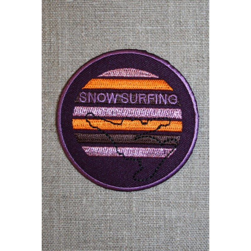 "Rundt motiv ""snow surfing"", lilla/orange-33"