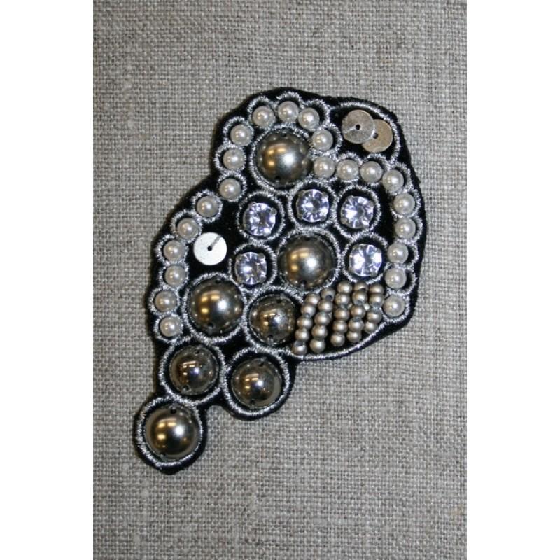 Motiv dråbe sort/sølv-31