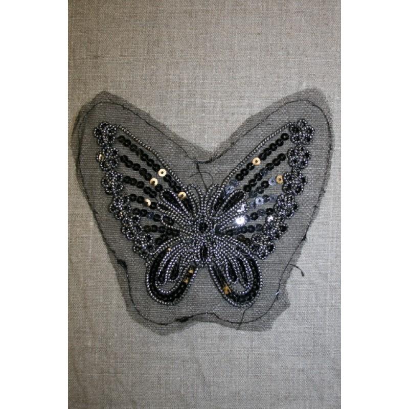 Sommerfugl m/palietter sort/sølv