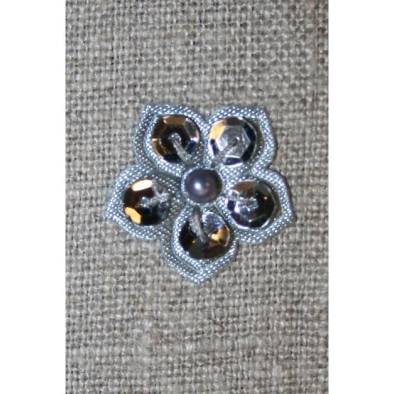 Lille blomst m/perle/palietter, grå