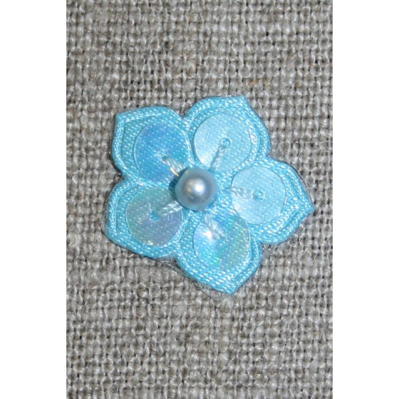 Lille blomst m/perle/palietter, lys turkis