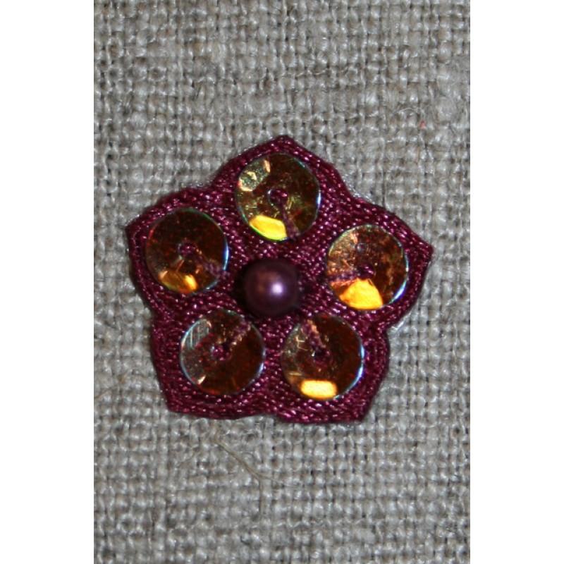 Lille blomst m/perle/palietter, bordeaux