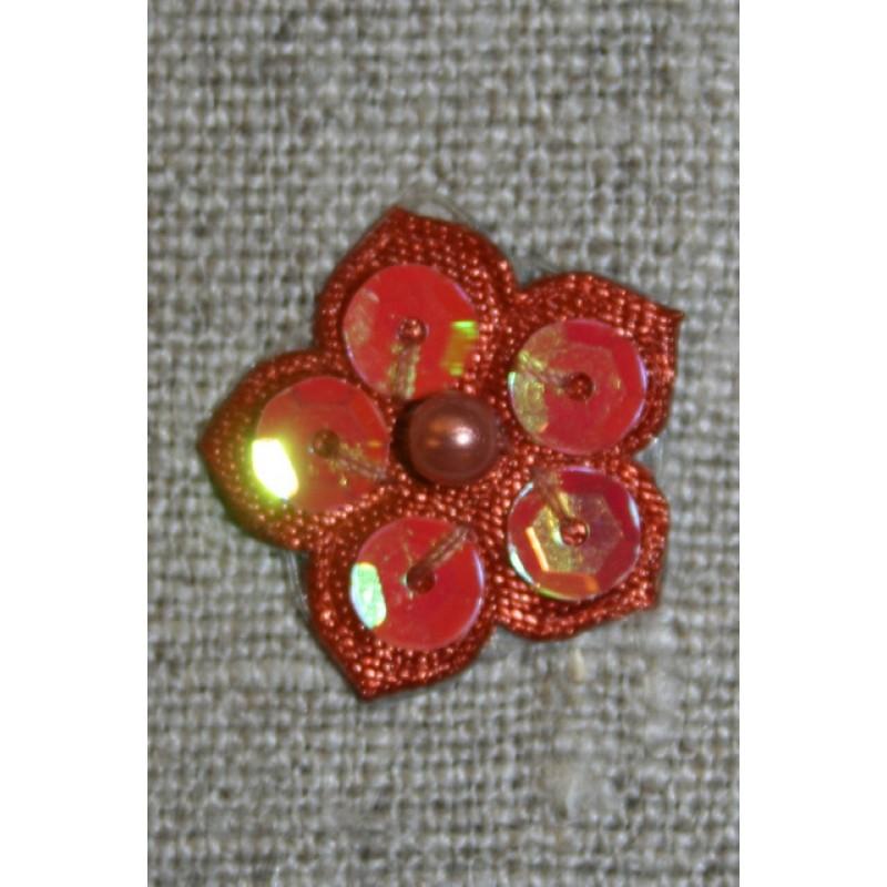 Lille blomst m/perle/palietter, rust/brændt orange-33