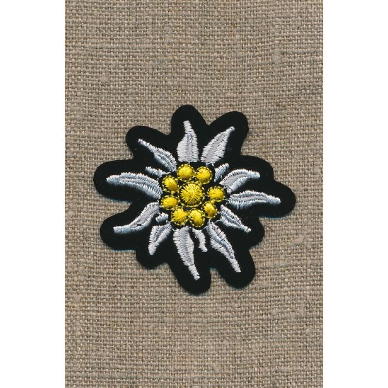 Motiv m/blomst/Edelweis sort/hvid/gul-35