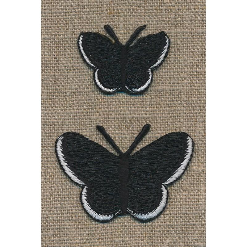 Strygemærke m/2 sommerfugle, sort-33