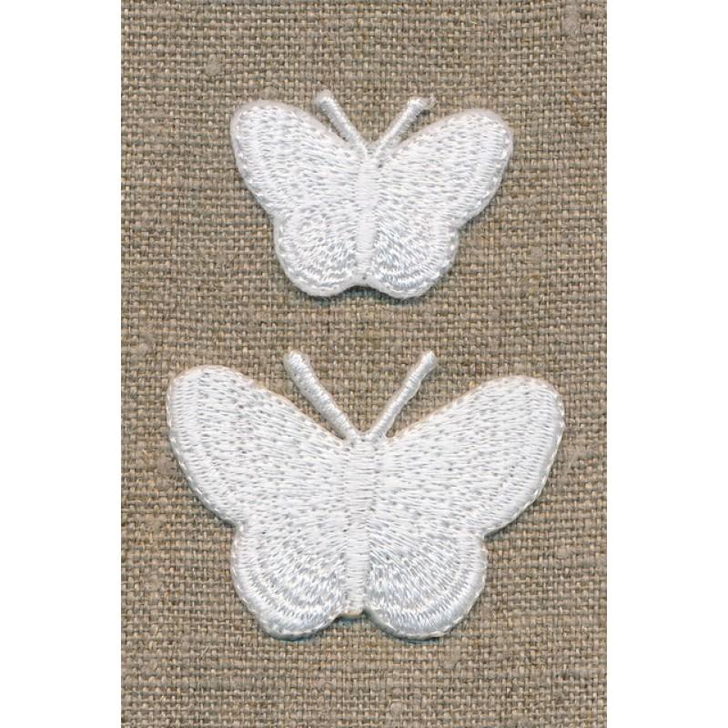 Strygemærke m/2 sommerfugle, hvid-33