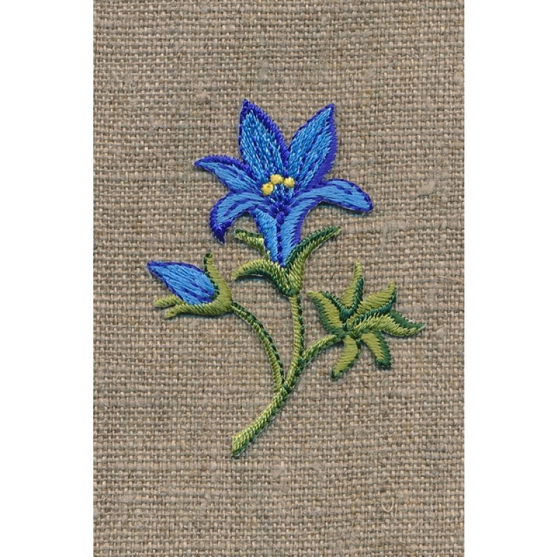 Motiv m/blomst/lilje, blå/grøn