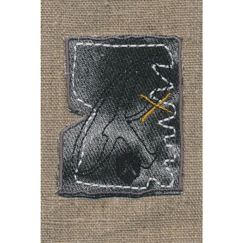 Strygemærke grå/sort denim m/R
