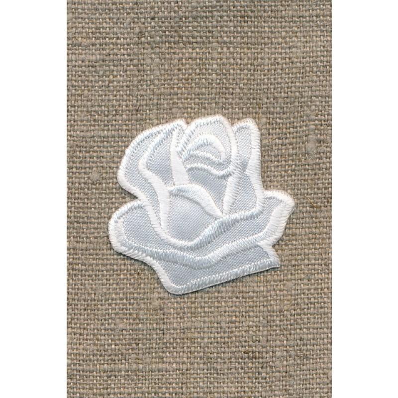Motiv m/rose, hvid