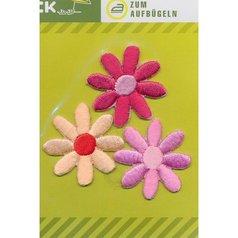 3 blomster, lys hindbær/laks/lyserød