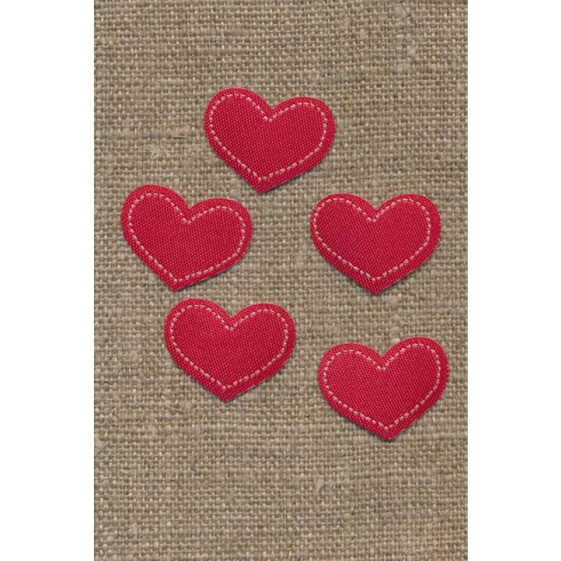 5 stk. Strygemærke rødt hjerte, 18x22 mm.-33