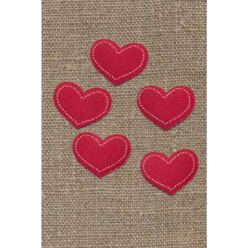 5 stk. Strygemærke rødt hjerte, 18x22 mm.