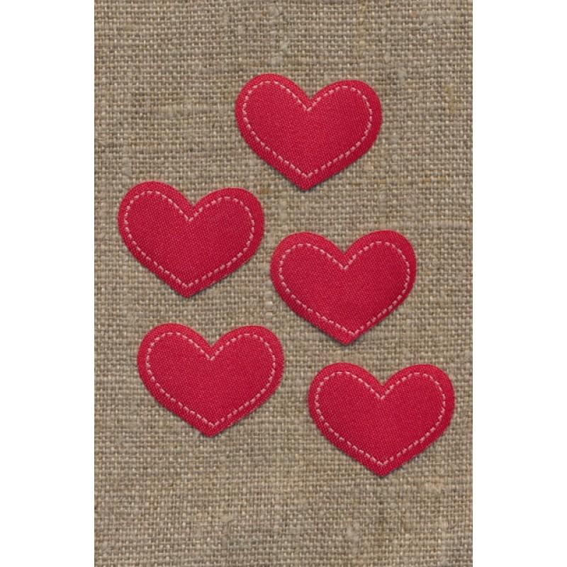 5 stk. Strygemærke rødt hjerte, 28x22 mm.-33