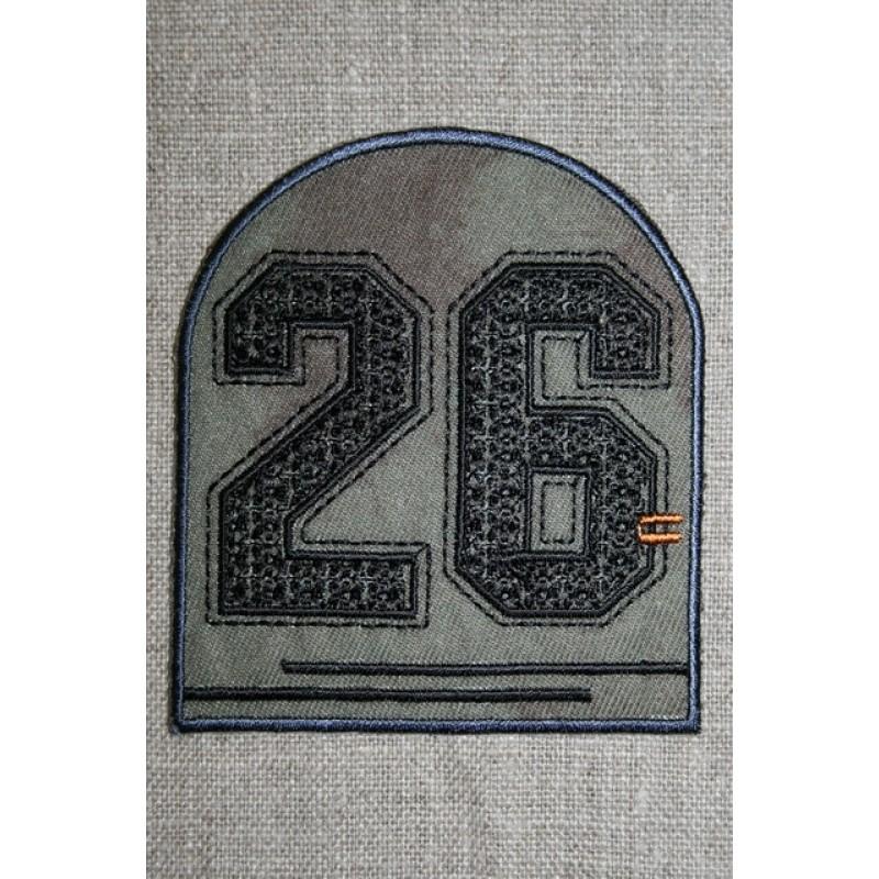 Strygemærke med tal 26, army sort