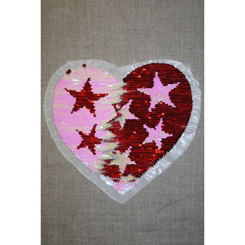Motiv med vendbare pailletter hjerte med stjerner rød/lyserød
