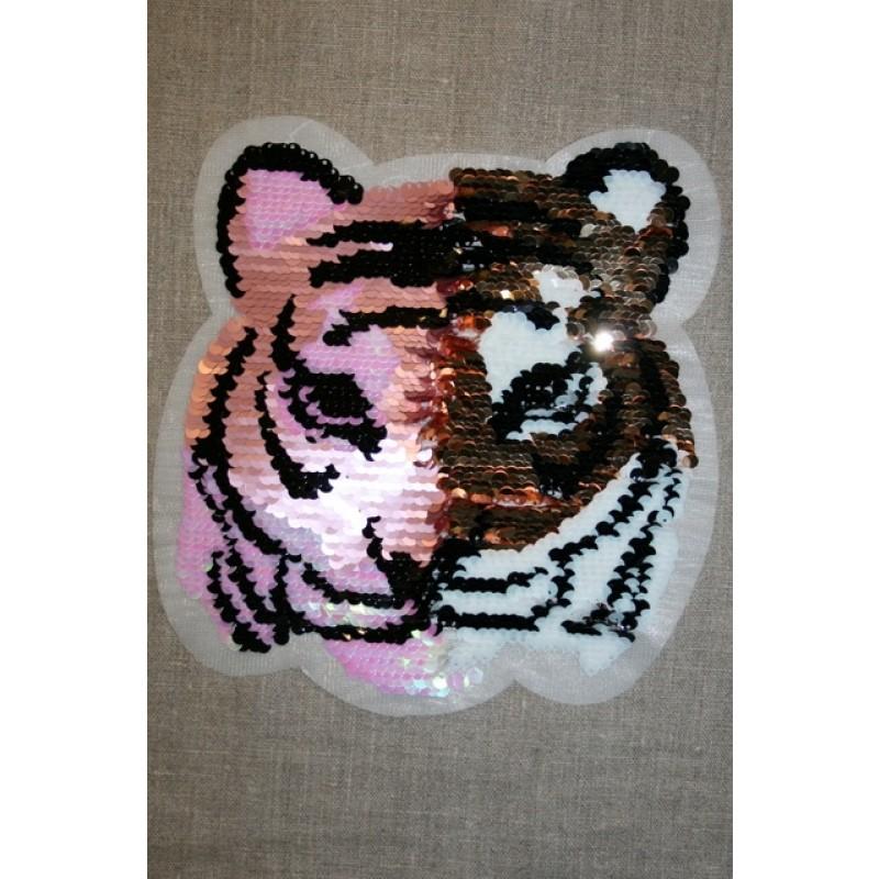 Motiv med vendbare pailletter tiger i guld/lyserød-33