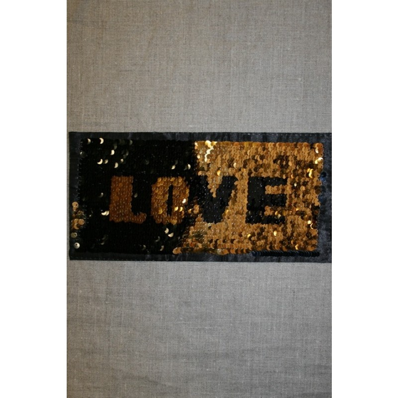 Motiv med vendbare pailletter LOVE i guld/sort-34