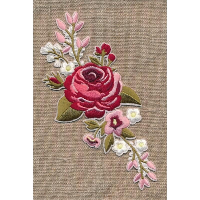 Motiv m/stor blomst, lyserød/støvet grøn-36