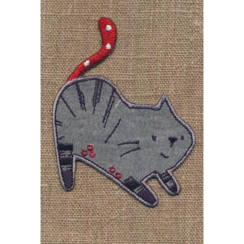 Strygemærke med grå kat