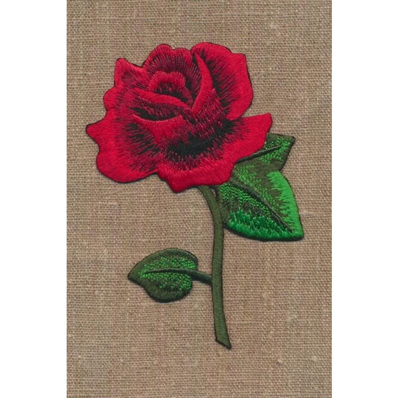 Motiv med stor rose i rød-37