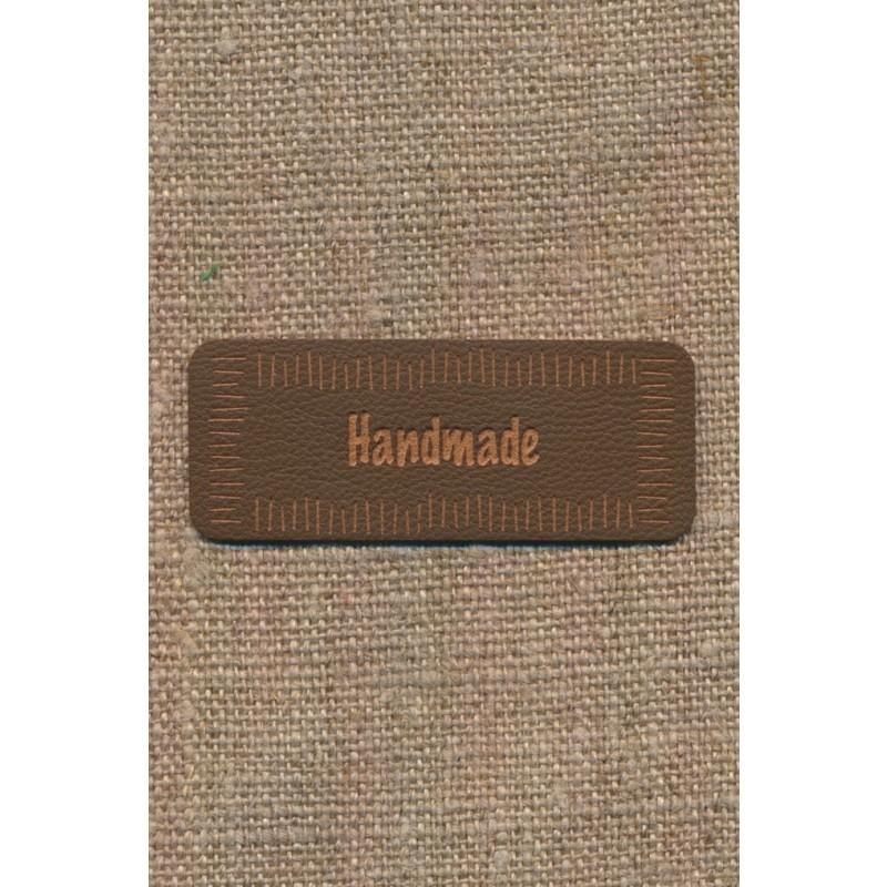 "Motiv i læderlook i brun ""Handmade""-32"