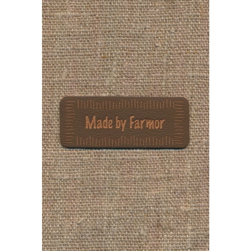 "Motiv i læderlook i brun ""Made by Farmor""-36"