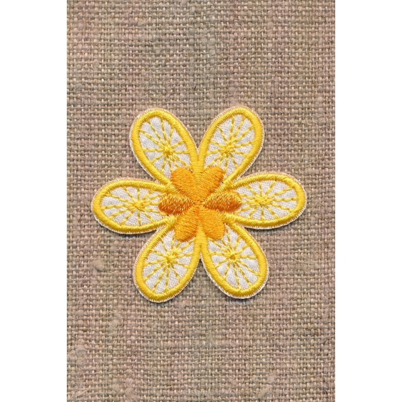 Motiv med blomst i gul og hvid-314