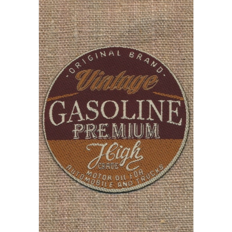 Rundt motiv med teksten Vintage Gasolin i brun og rød-brun-36