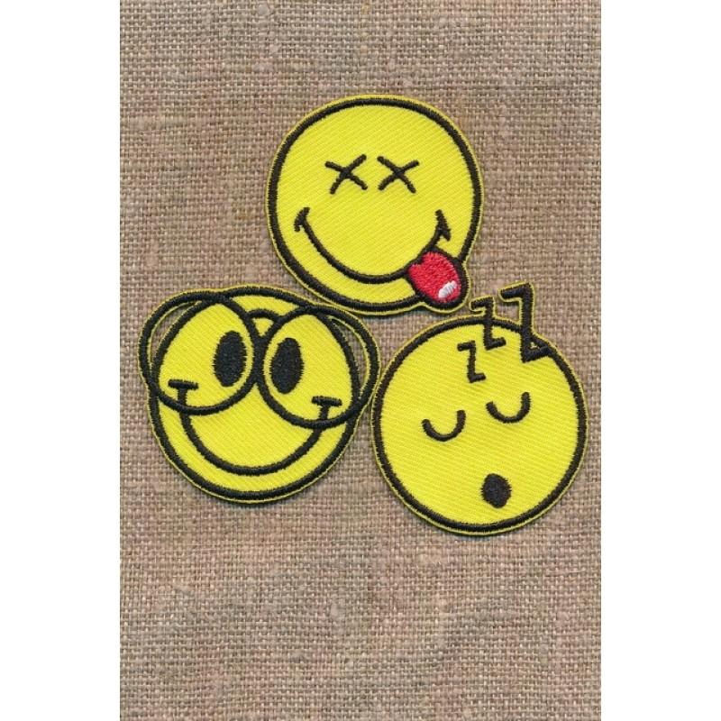 Motiv Smiley 3 stk. sove, briller, række tunge