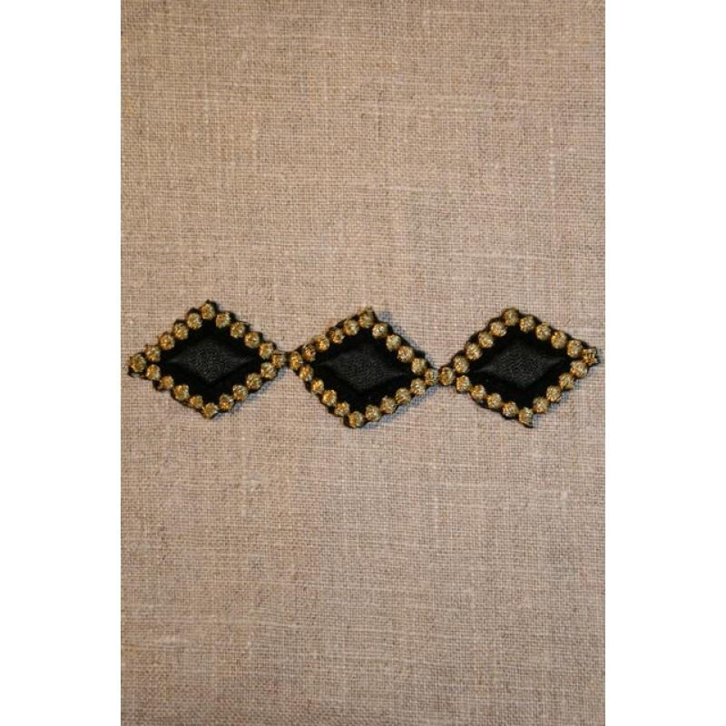 Aflangt strygemærke sort/guld-33